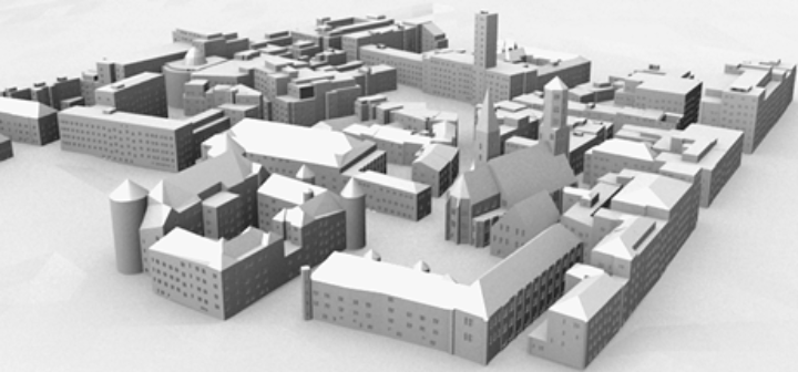 City model with grammar induced facades