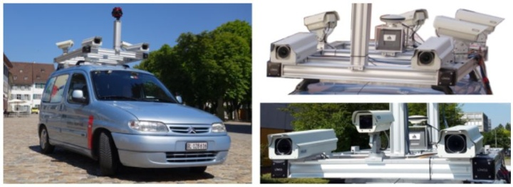 IVGI mobile mapping system (left) with different sensor configurations (right)