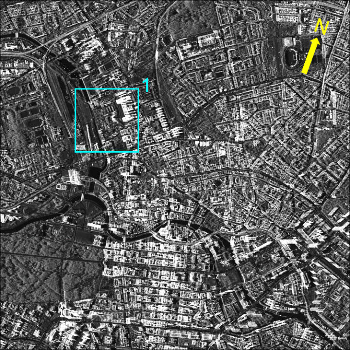 TerraSAR-X image (resolution of 1m × 1m) covering central Berlin city (c)