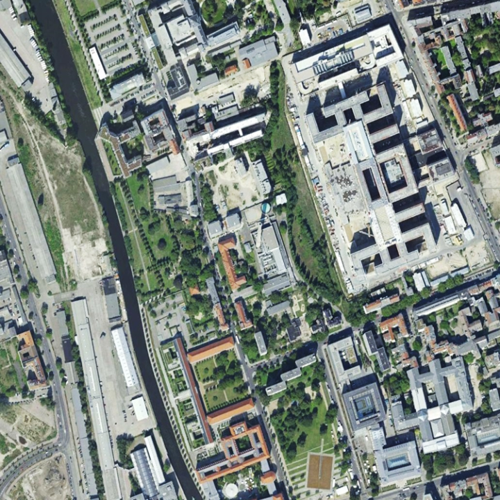Google Earth images over patch 1 (Figure 1) around Berlin Central Station acquired on (a) September 12, 2010 (c)
