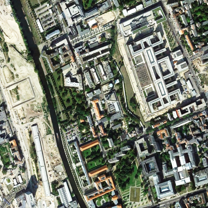 Google Earth images over patch 1 (Figure 1) around Berlin Central Station acquired on  (b) September 5, 2014 reveal many building constructions as good test examples.