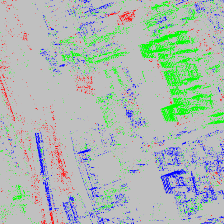 4D change detection result in 2013 over patch 1 (Figure 1). (a) Steady (blue), disappearing (red), and emerging (green) structures.  (c)