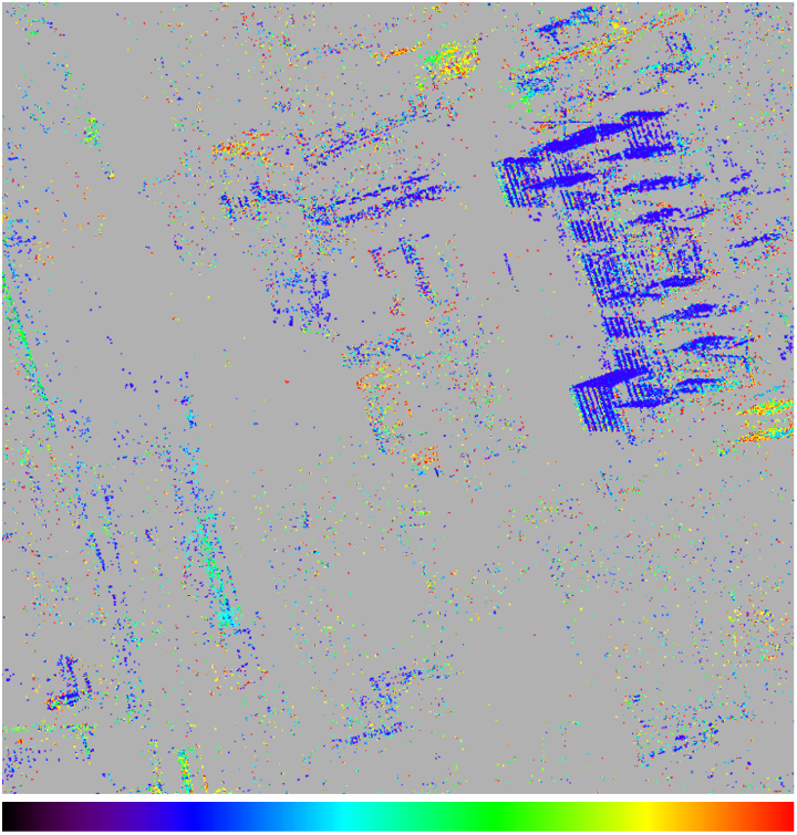 4D change detection result in 2013 over patch 1 (Figure 1). (b) Disappearance and emergence dates: black to red, earliest to latest. Compared with the Google Earth images (Figure 6), we can efficiently obtain the detailed spatiotemporal information about the locations of the changed structures and their occurrence times. (c)