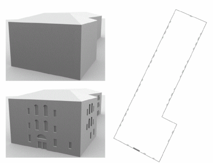 The Central Administrative Building of the University of Stuttgart: 3D model before and after façade reconstruction (left); 2D map of the ground floor (right) (c)