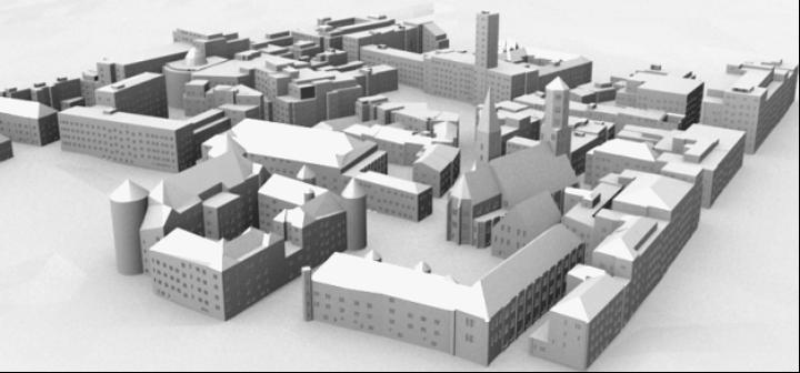 Grammar-based facade structures for a large area around Stuttgart's Schillerplatz (c)