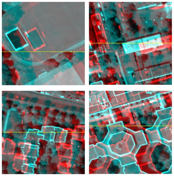 Figure 4. Subimages at the corners of WorldView-2 anaglyph