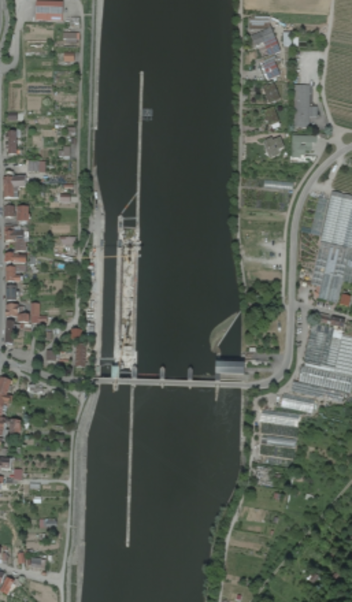 Figure 1. True Orthophoto (DOP) of the lock Hessigheim. (c)